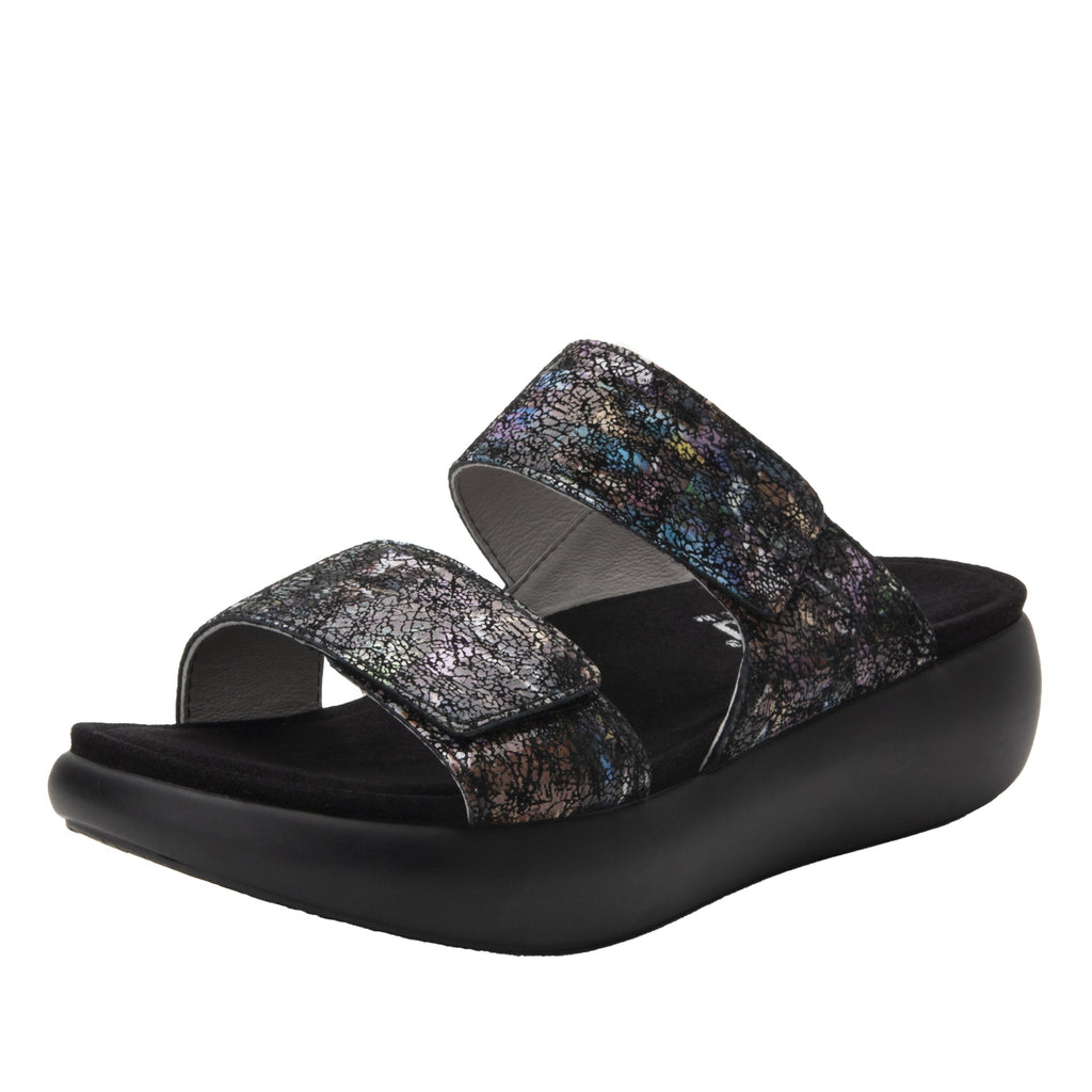 Bryce Montage slip on two strap sandal with non-flexing sleek rocker bottom with built in arch support  - BRY-7763_S1
