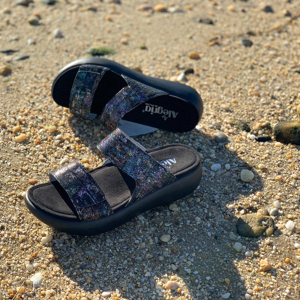 Bryce Montage slip on two strap sandal with non-flexing sleek rocker bottom with built in arch support  - BRY-7763_S2