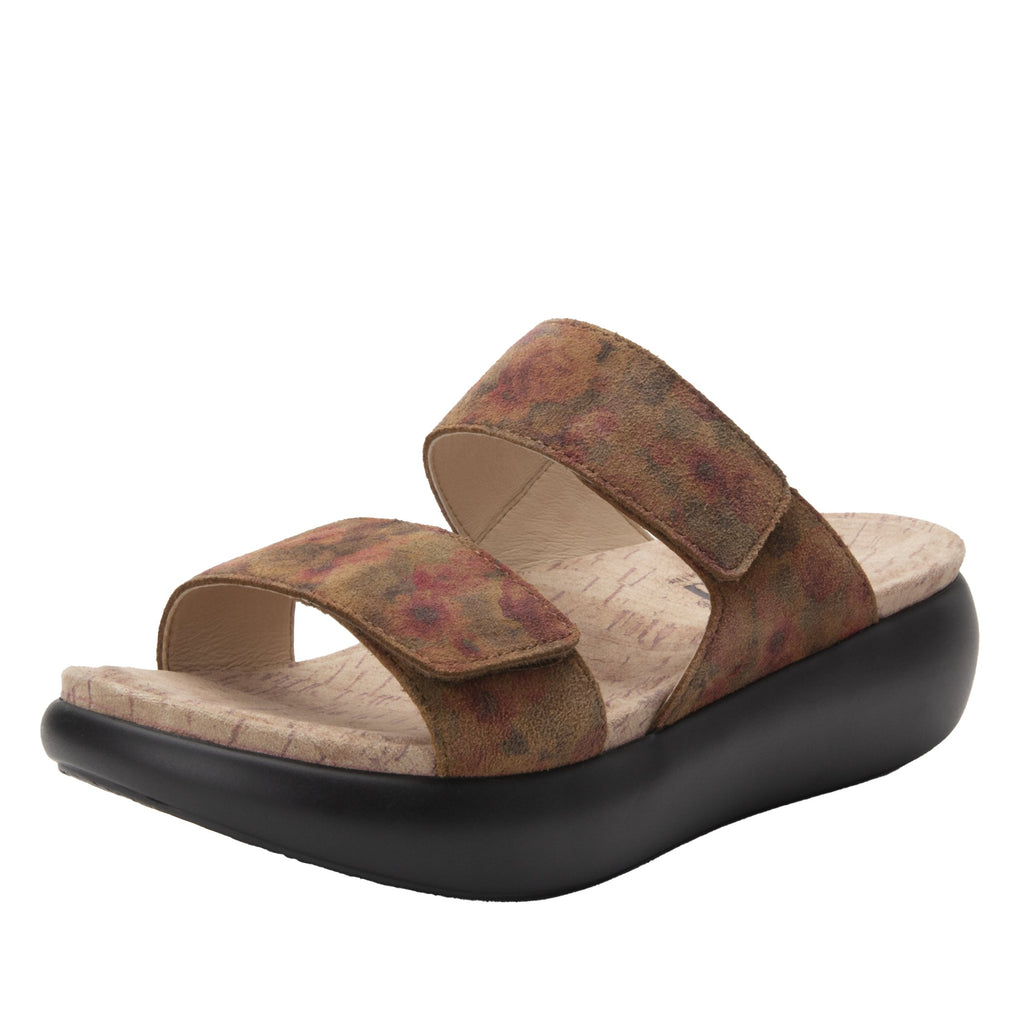 Bryce Cognac & Roses slip on two strap sandal with non-flexing sleek rocker bottom with built in arch support  - BRY-7764_S1