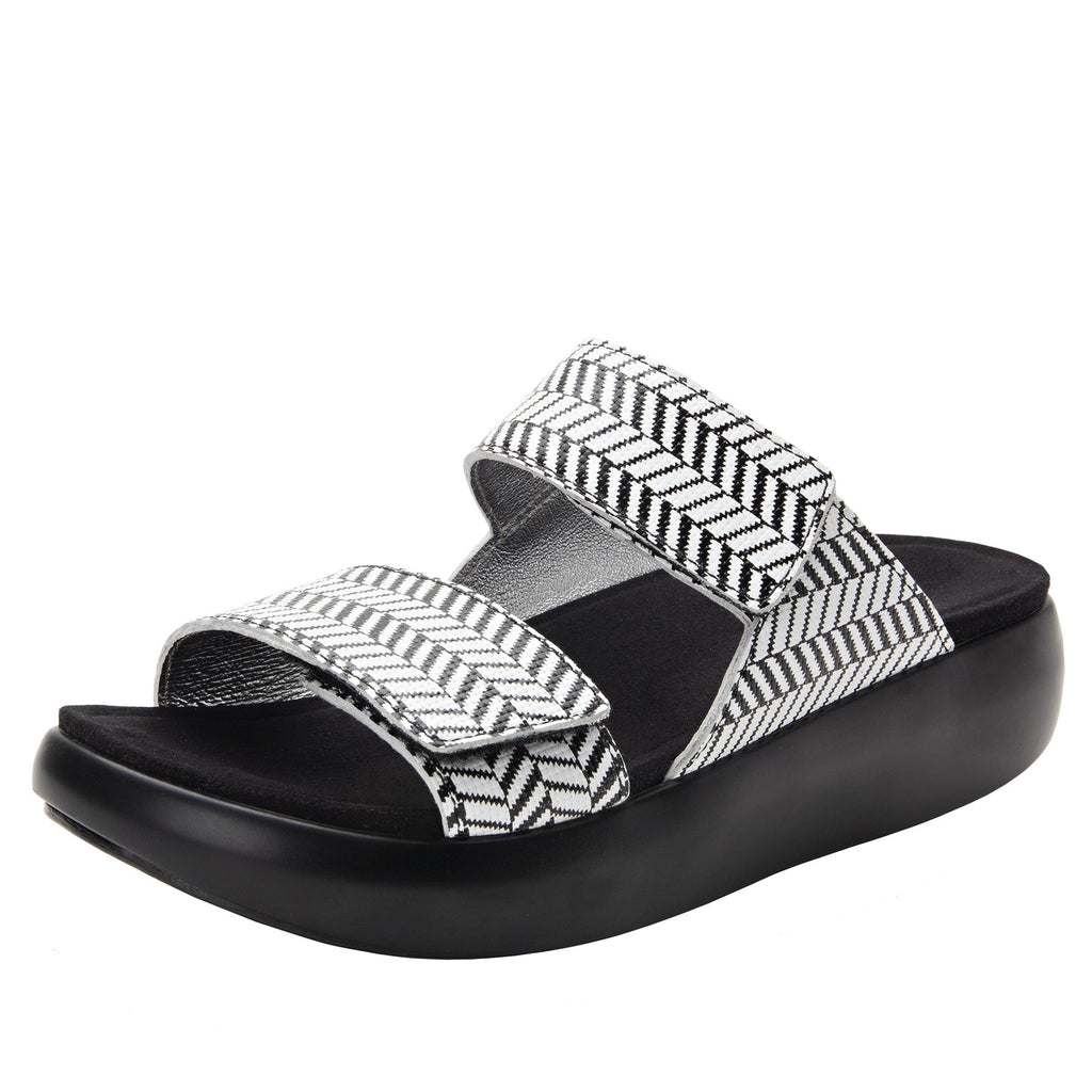 Bryce Chevron and On slip on two strap sandal with non-flexing sleek rocker bottom with built in arch support  - BRY-813_S1