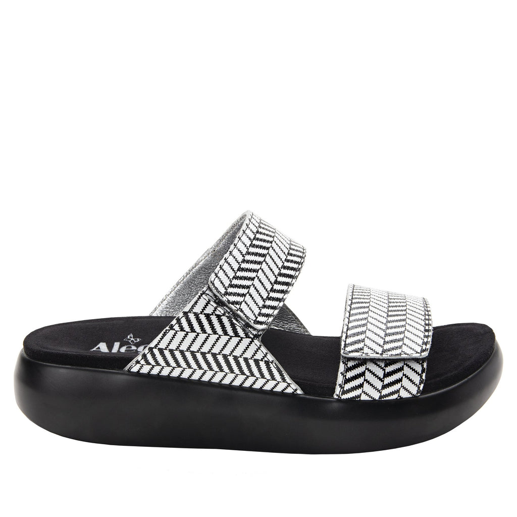 Bryce Chevron and On slip on two strap sandal with non-flexing sleek rocker bottom with built in arch support  - BRY-813_S3