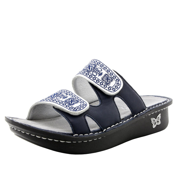 Camille Sew Cool Navy slide sandal with cutout design on classic rocker outsole - CAM-354_S1