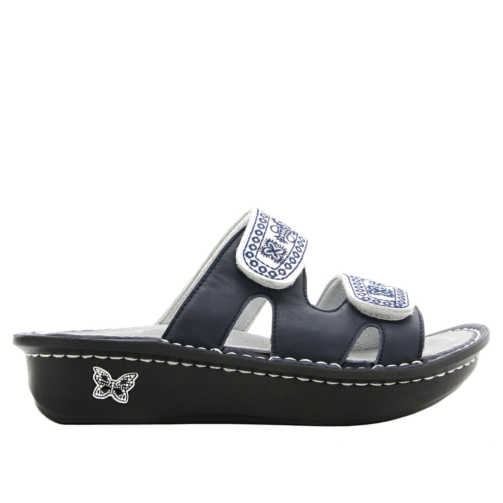 Camille Sew Cool Navy slide sandal with cutout design on classic rocker outsole - CAM-354_S2