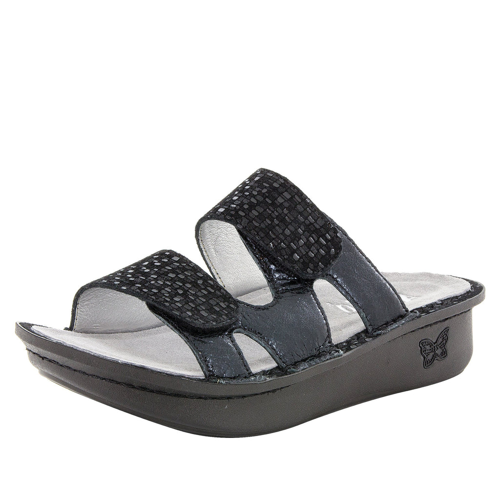 Camille Tile Me More Black Sandal with dual adjustable strap on Classic rocker outsole - CAM-765_S1