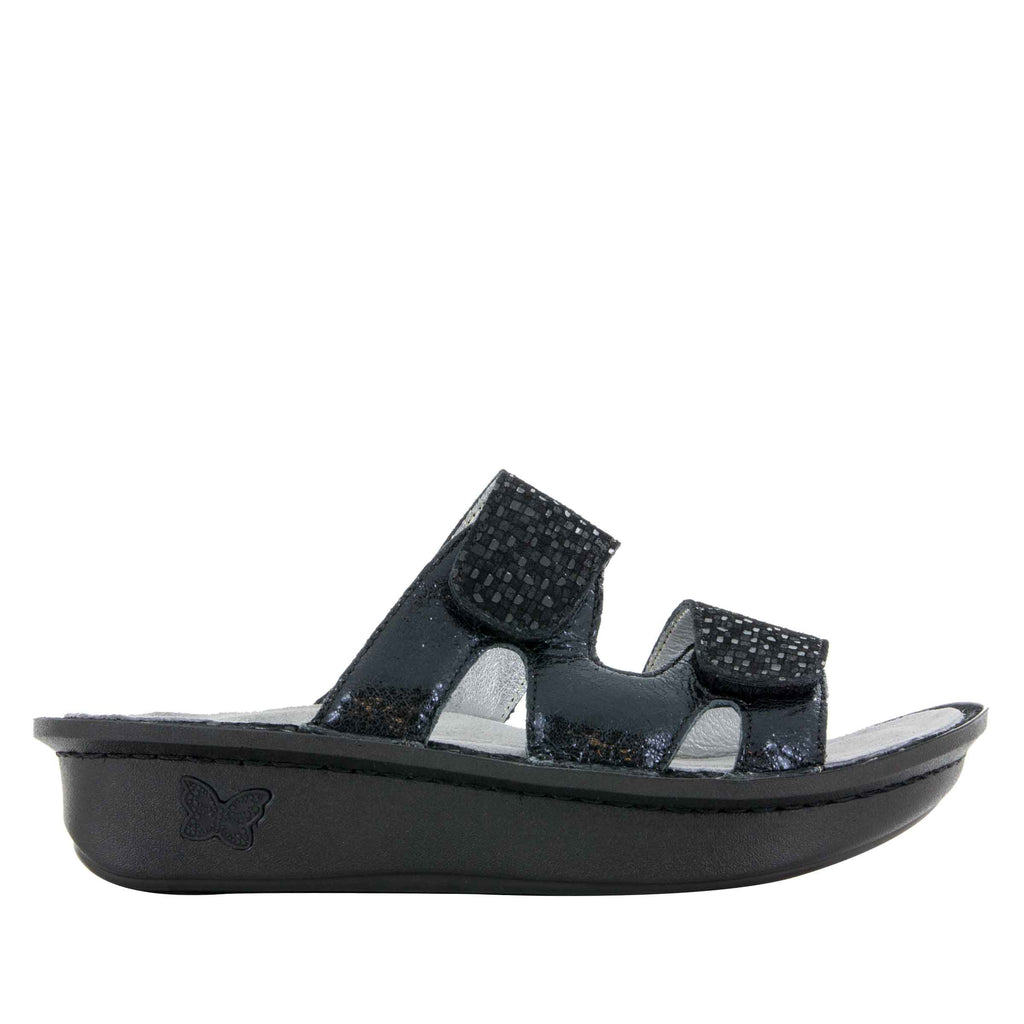 Camille Tile Me More Black Sandal with dual adjustable strap on Classic rocker outsole - CAM-765_S2 (499269664822)