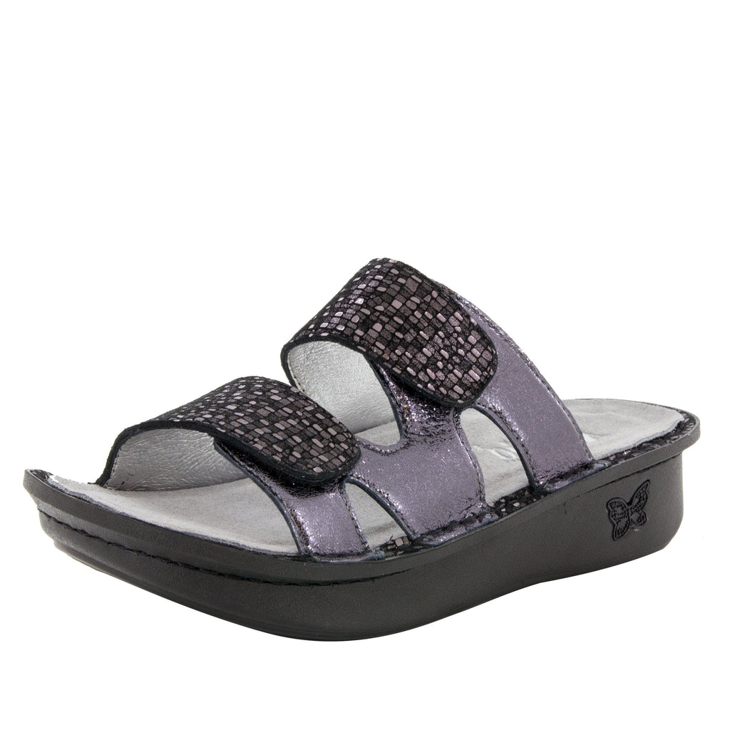 Camille Tile Me More Pewter Sandal with dual adjustable strap on Classic rocker outsole - CAM-767_S1 (499269763126)