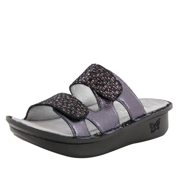 Camille Tile Me More Pewter Sandal with dual adjustable strap on Classic rocker outsole - CAM-767_S1
