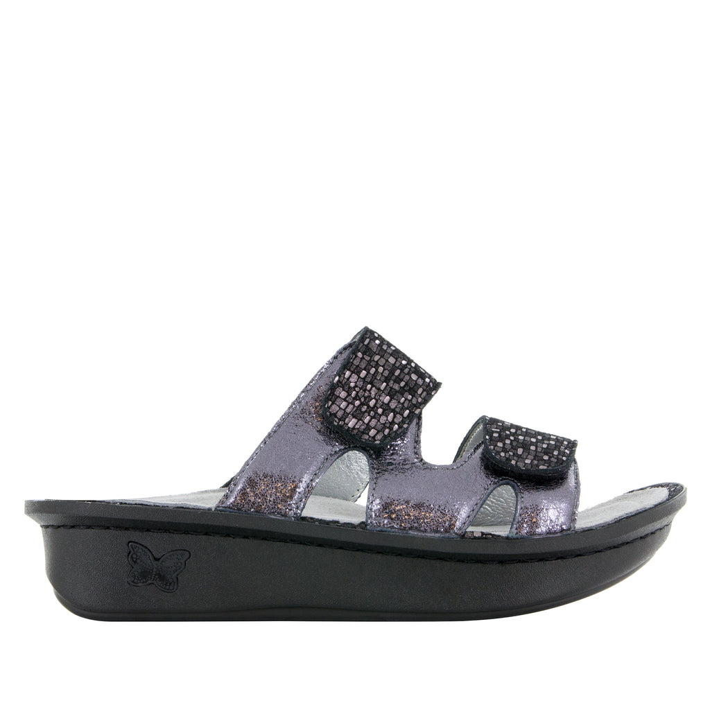 Camille Tile Me More Pewter Sandal with dual adjustable strap on Classic rocker outsole - CAM-767_S2