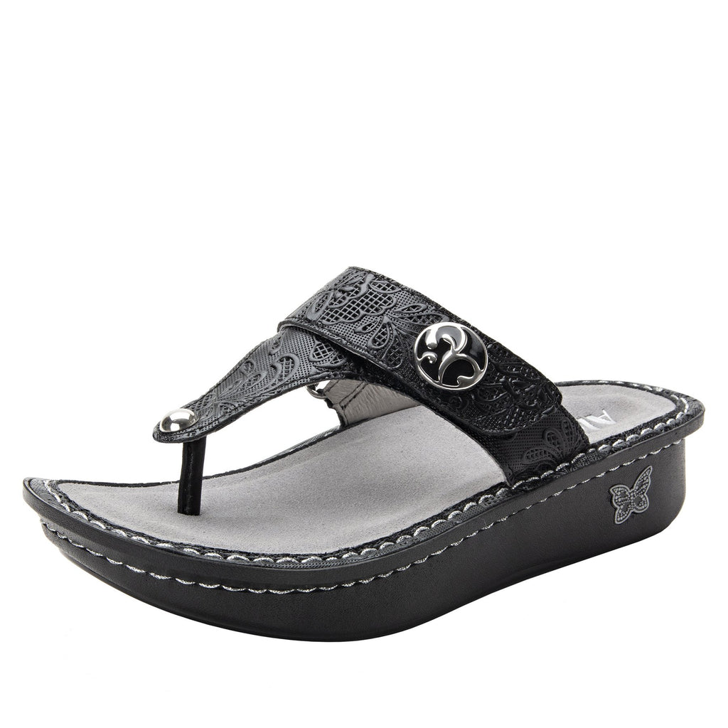 Carina Hello Doily Black thong style sandal on the Classic rocker outsole - CAR-163_S1