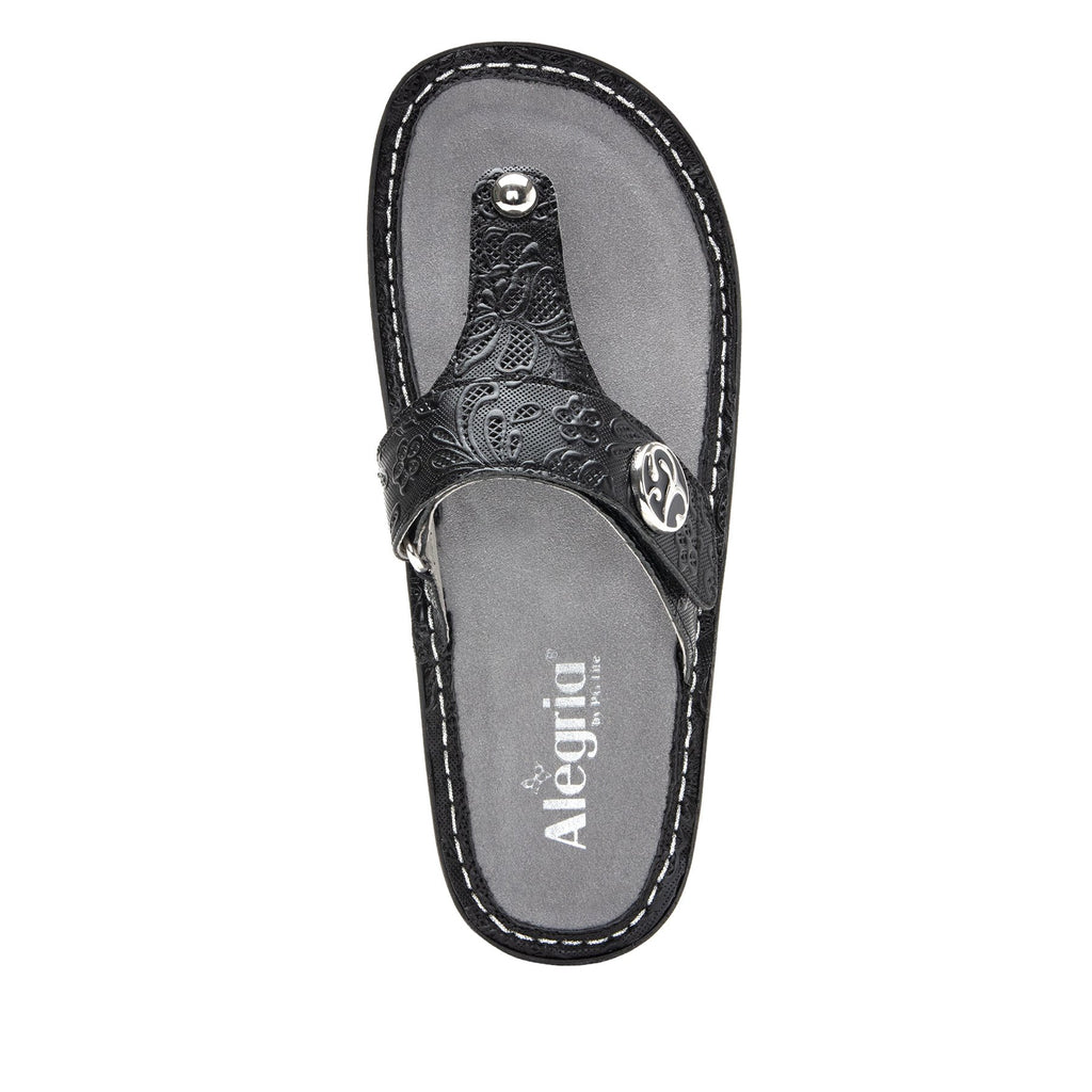 Carina Hello Doily Black thong style sandal on the Classic rocker outsole - CAR-163_S4