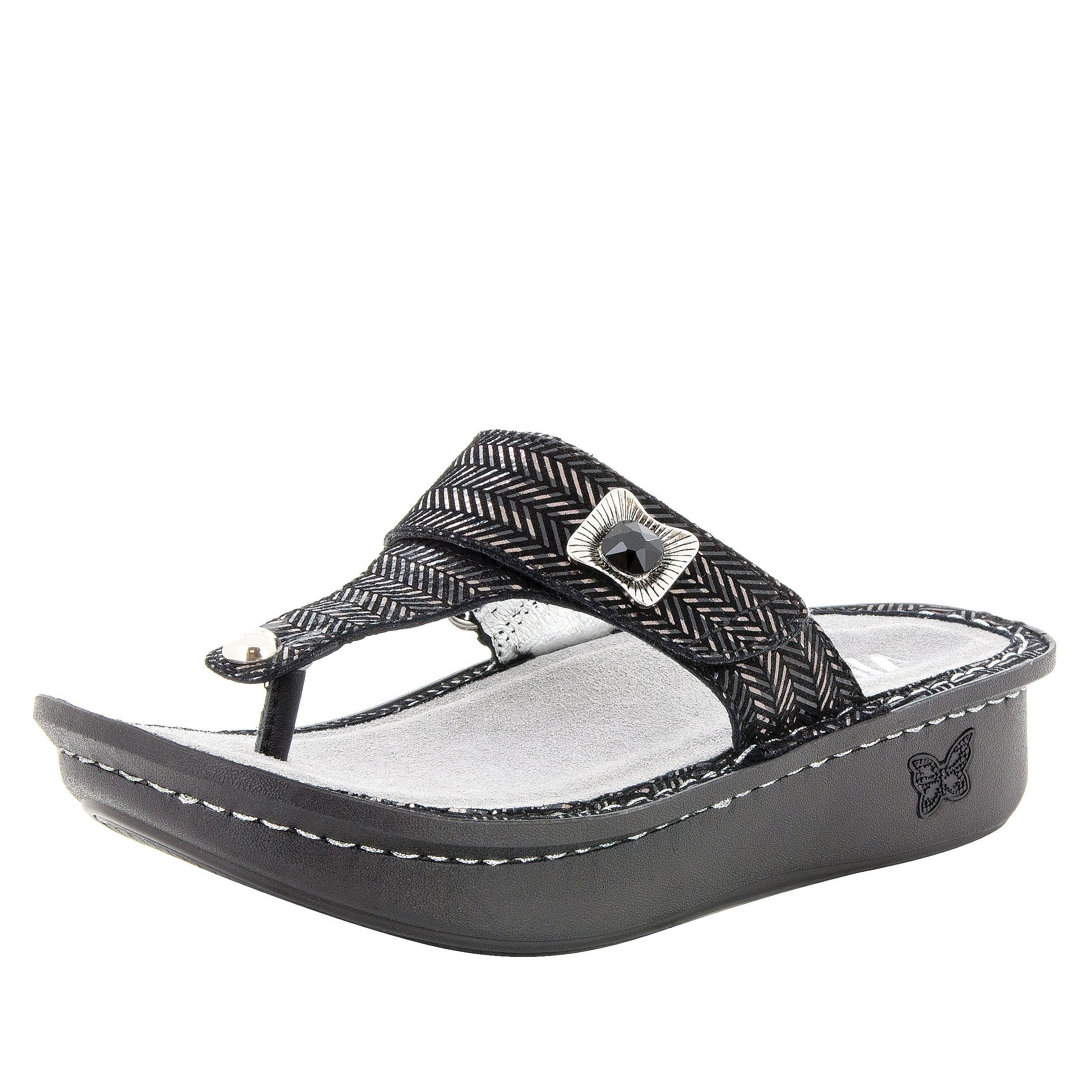 0dcdd59b29ba4 Carina Chained Black thong style sandal on the Classic rocker outsole - CAR -255 S1