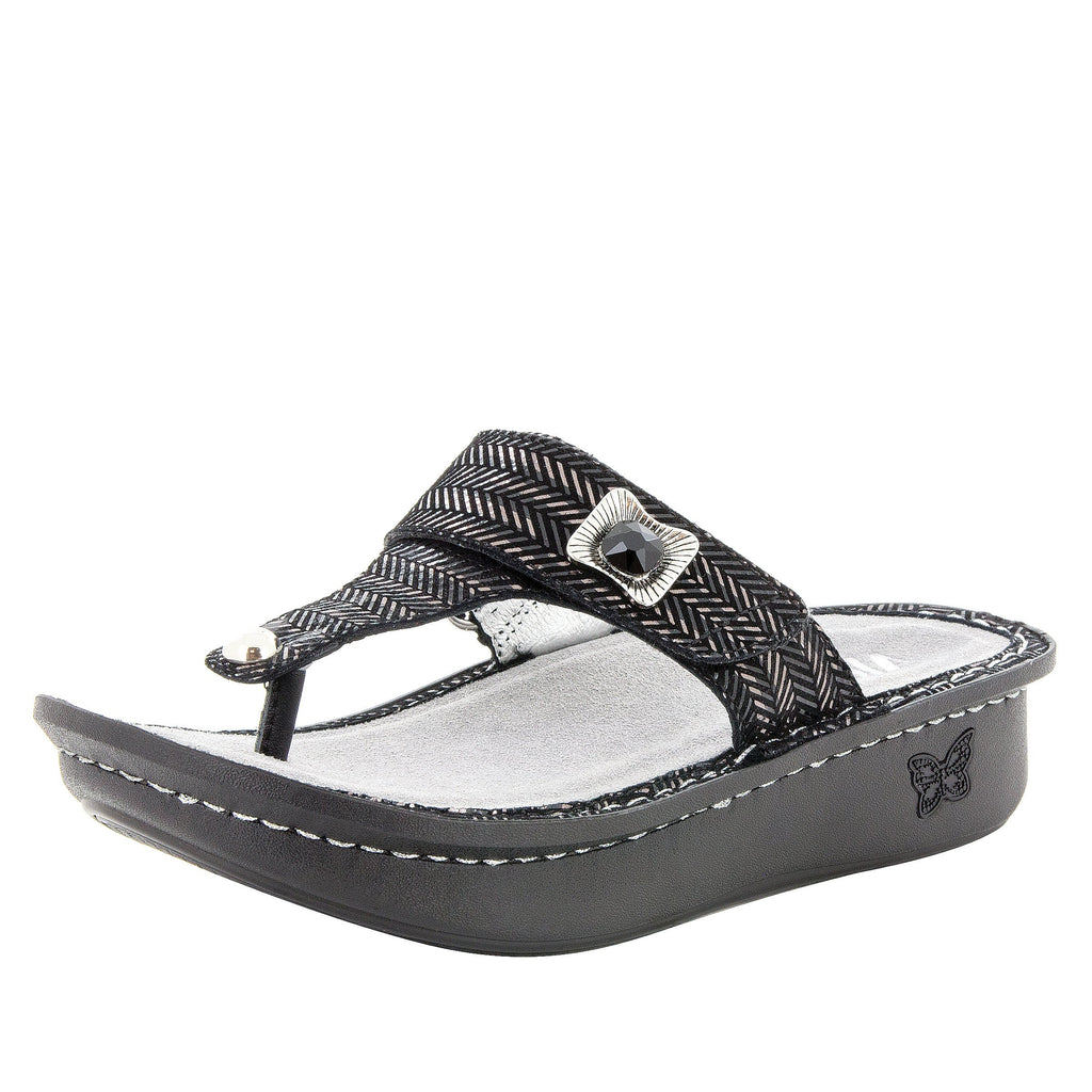 Carina Chained Black thong style sandal on the Classic rocker outsole - CAR-255_S1 (247641440282)
