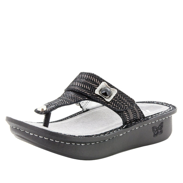 Carina Chained Black thong style sandal on the Classic rocker outsole - CAR-255_S1