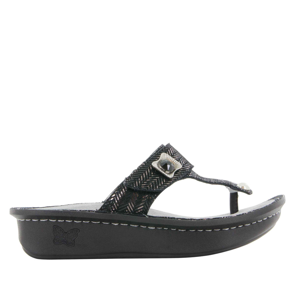 Carina Chained Black thong style sandal on the Classic rocker outsole - CAR-255_S2 (247641440282)