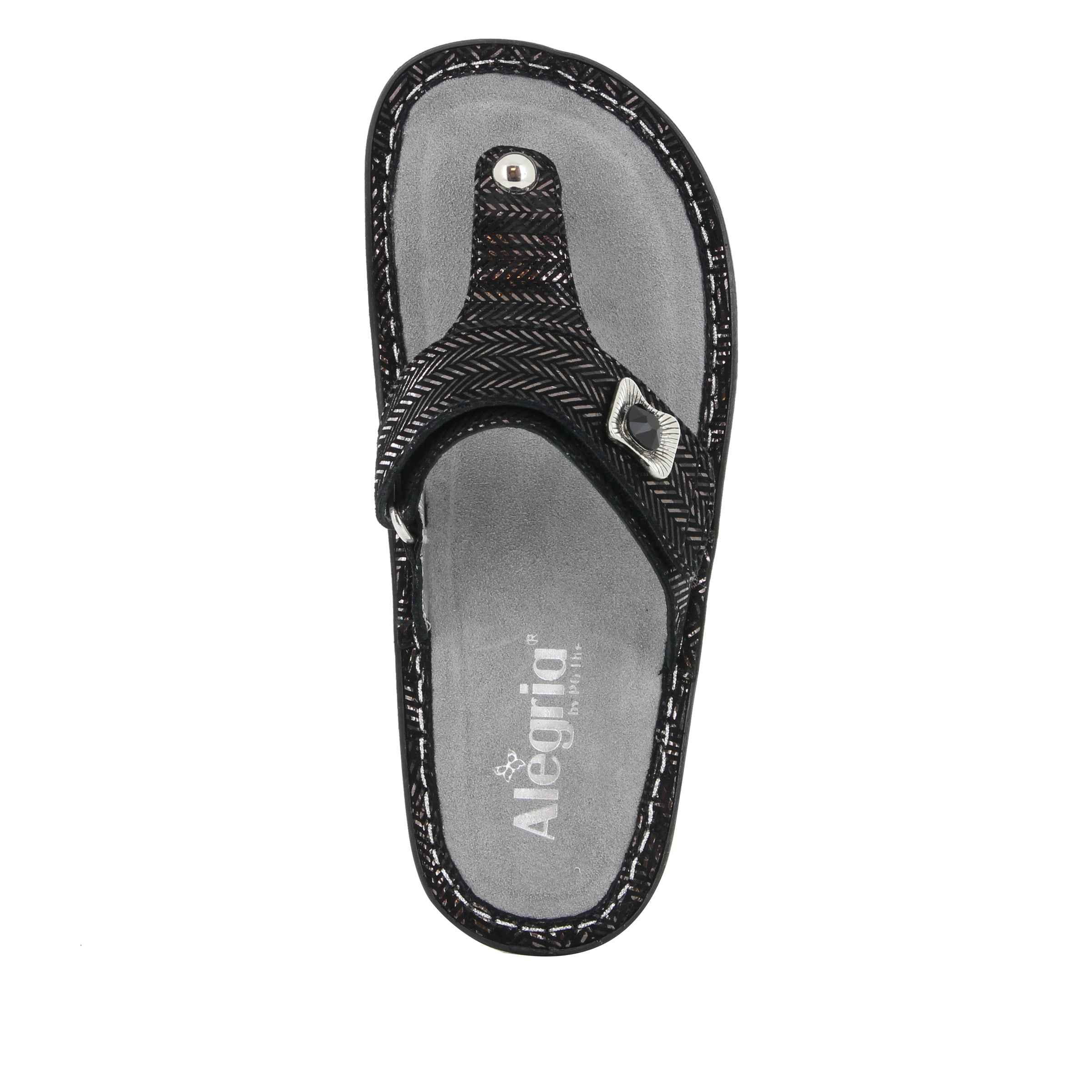 cdc15626edeeb ... Carina Chained Black thong style sandal on the Classic rocker outsole -  CAR-255 S4 ...
