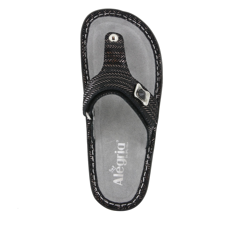 Carina Chained Black thong style sandal on the Classic rocker outsole - CAR-255_S4 (247641440282)
