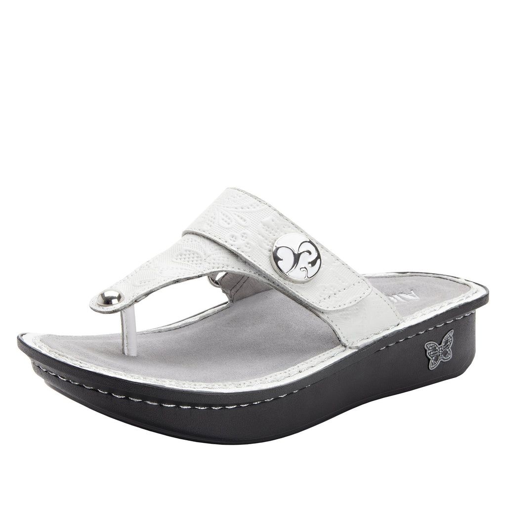 Carina Hello Doily White thong style sandal on the Classic rocker outsole - CAR-381_S1
