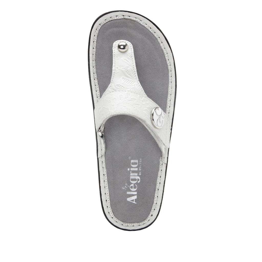 Carina Hello Doily White thong style sandal on the Classic rocker outsole - CAR-381_S4