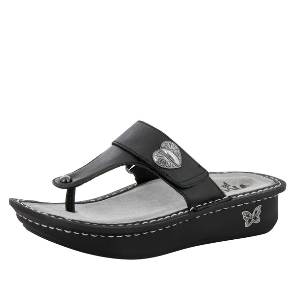 Carina Black Nappa Sandal - Alegria Shoes