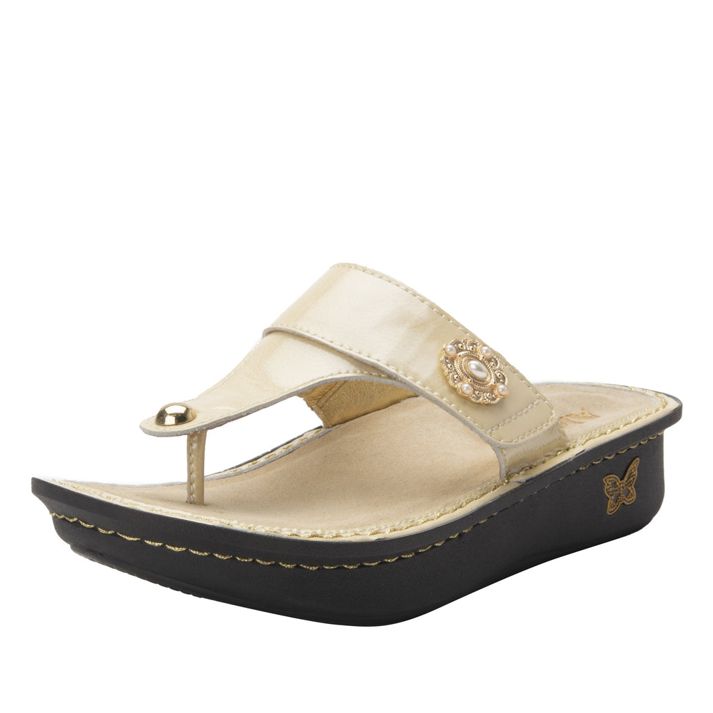 Carina Brooch thong style sandal on the Classic rocker outsole - CAR-7705_S1