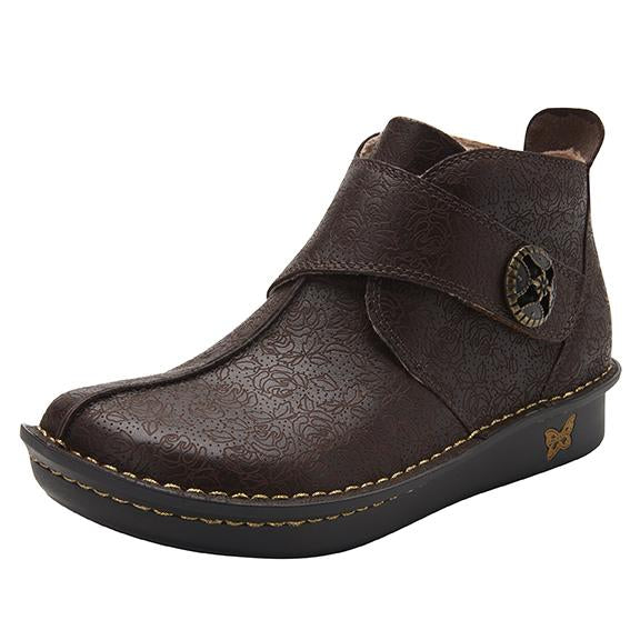 Caiti Cocoa Impression Boot with adjustable strap on the mini outsole - CAT-7824_S1
