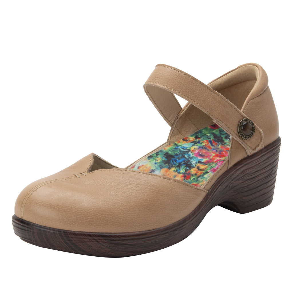Celeste Aged Bone mary jane on a wood look wedge outsole - CEL-7736_S1