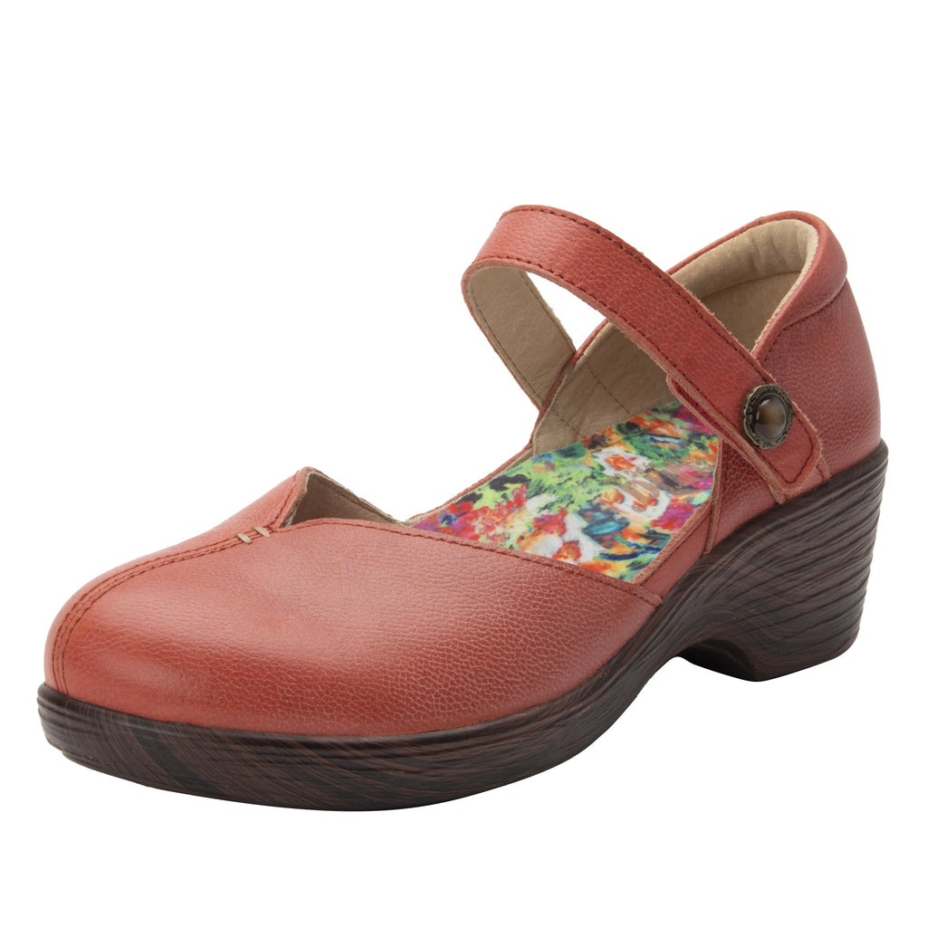 Celeste Aged Poppy mary jane on a wood look wedge outsole - CEL-7737_S1