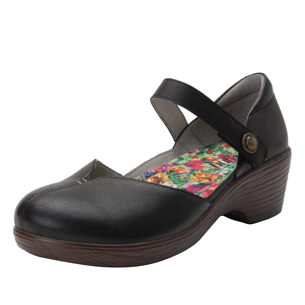 Celeste Obsidian mary jane on a wood look wedge outsole - CEL-7741_S1