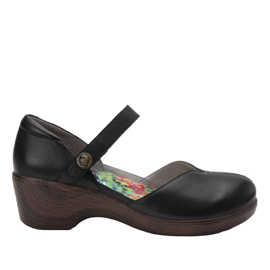 Celeste Obsidian mary jane on a wood look wedge outsole - CEL-7741_S3