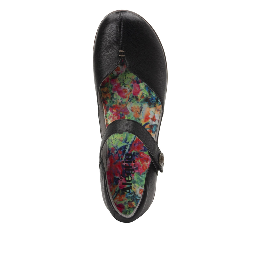 Celeste Obsidian mary jane on a wood look wedge outsole - CEL-7741_S5