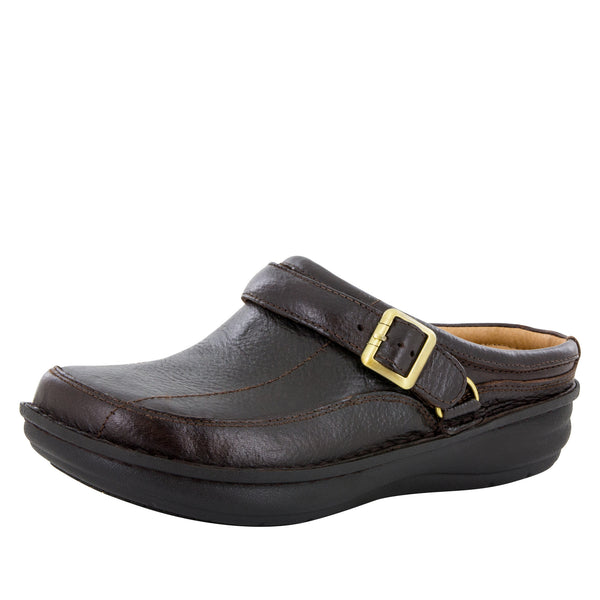 Alegria Men's Chairman Dark Brown Waxed Tumbled Shoe - Alegria Shoes