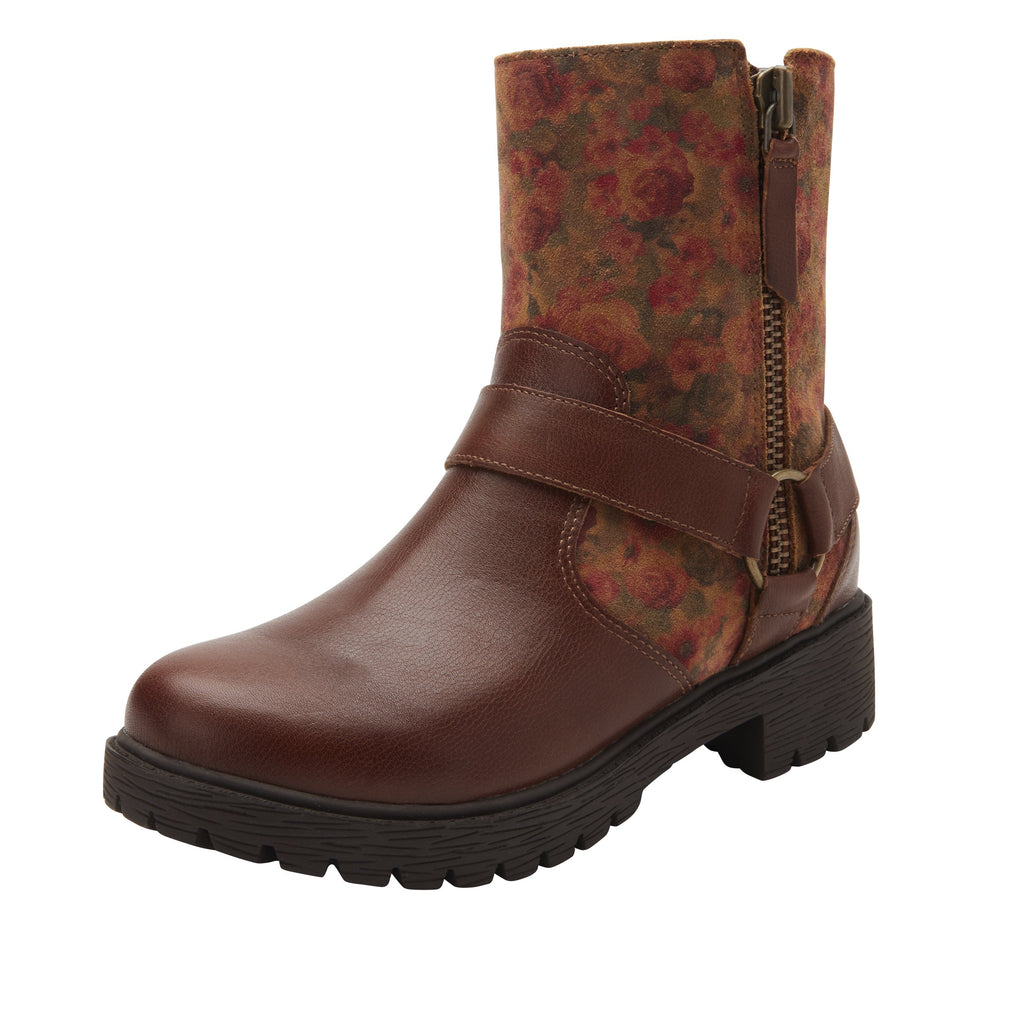 Charlette Cognac & Roses boot with rugged lug inspired outsole- CHA-7927_S1
