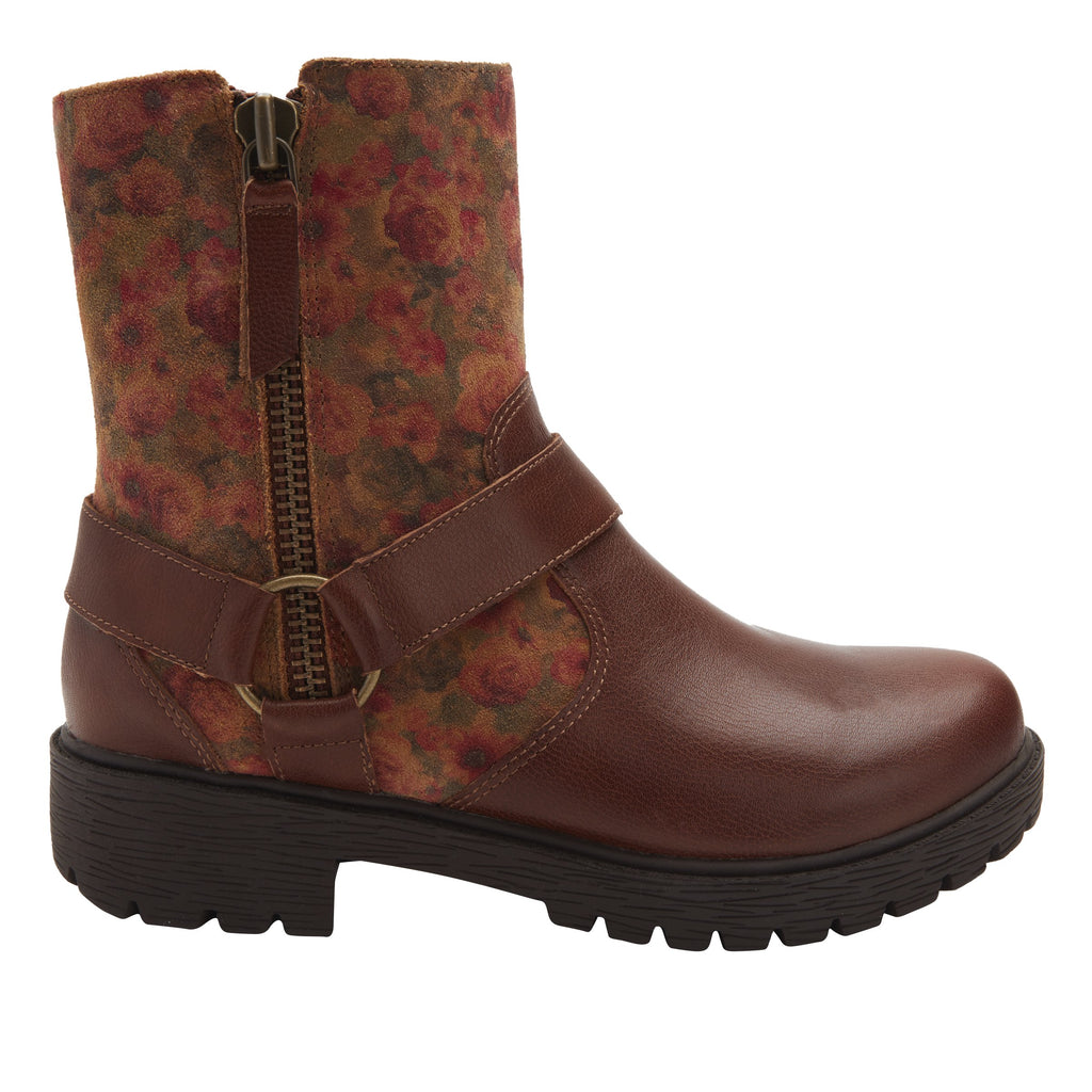 Charlette Cognac & Roses boot with rugged lug inspired outsole- CHA-7927_S2