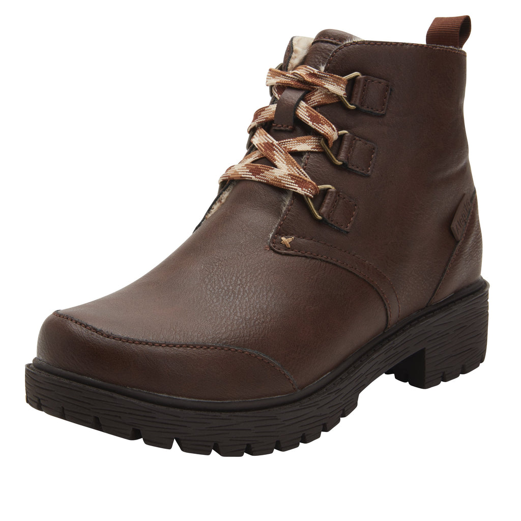 Cheri Smooth Brown water-resistant boot with rugged lug inspired outsole- CHR-602_S1
