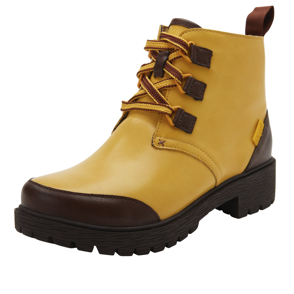 Cheri Mustard water-resistant boot with rugged lug inspired outsole- CHR-7939_S1