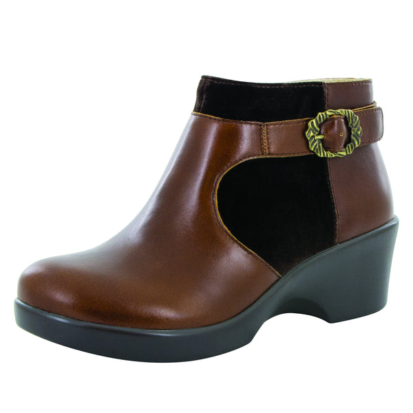 Cici Chestnut Luster ankle bootie showcases contrast panels on the career fashion wedge outsole - CIC-435_S1