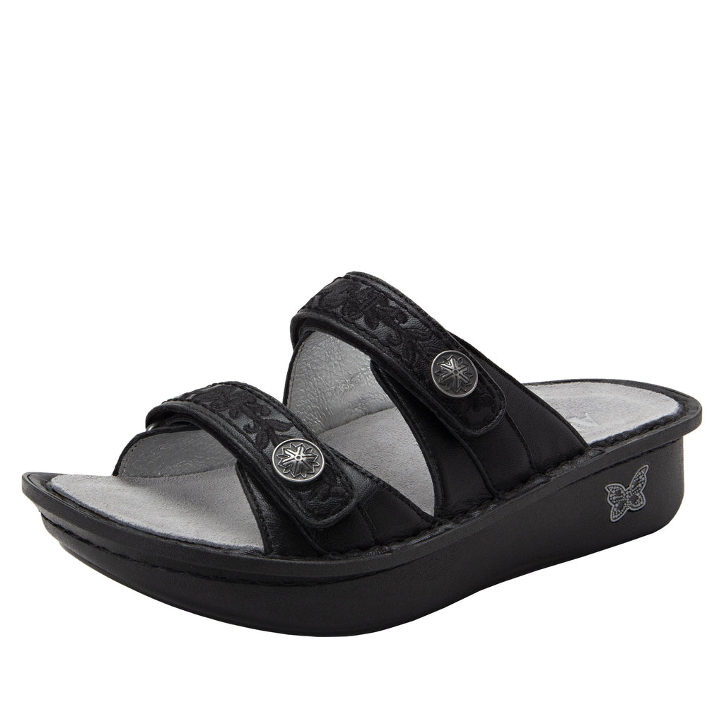 Clara Pewter slide sandal with dual adjustable straps on classic rocker outsole - CLA-204_S1 (2038694477878)