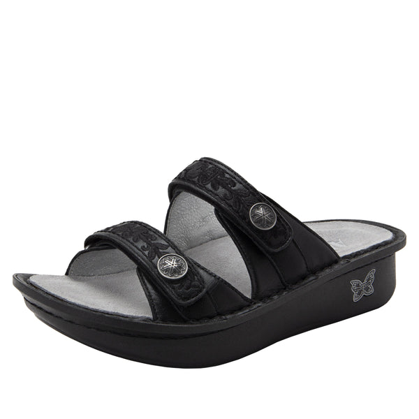 Clara Pewter slide sandal with dual adjustable straps on classic rocker outsole - CLA-204_S1