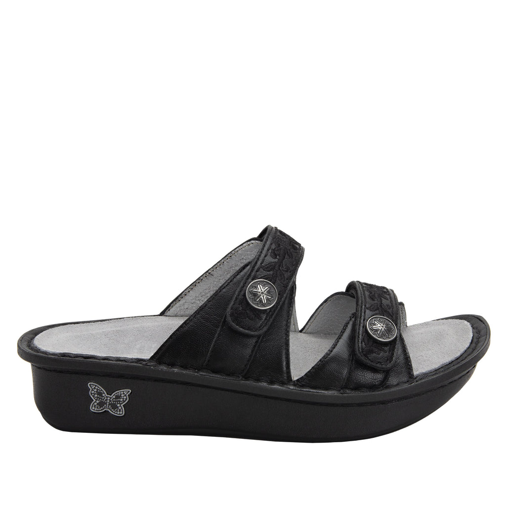 Clara Pewter slide sandal with dual adjustable straps on classic rocker outsole - CLA-204_S2 (2038694477878)