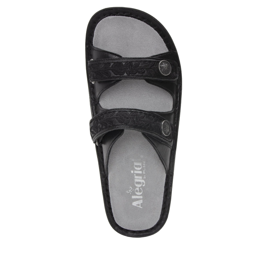 Clara Pewter slide sandal with dual adjustable straps on classic rocker outsole - CLA-204_S4 (2038694477878)