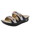 Clara Black slide sandal with dual adjustable straps on classic rocker outsole - CLA-611_S1