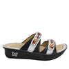 Clara Black slide sandal with dual adjustable straps on classic rocker outsole - CLA-611_S2