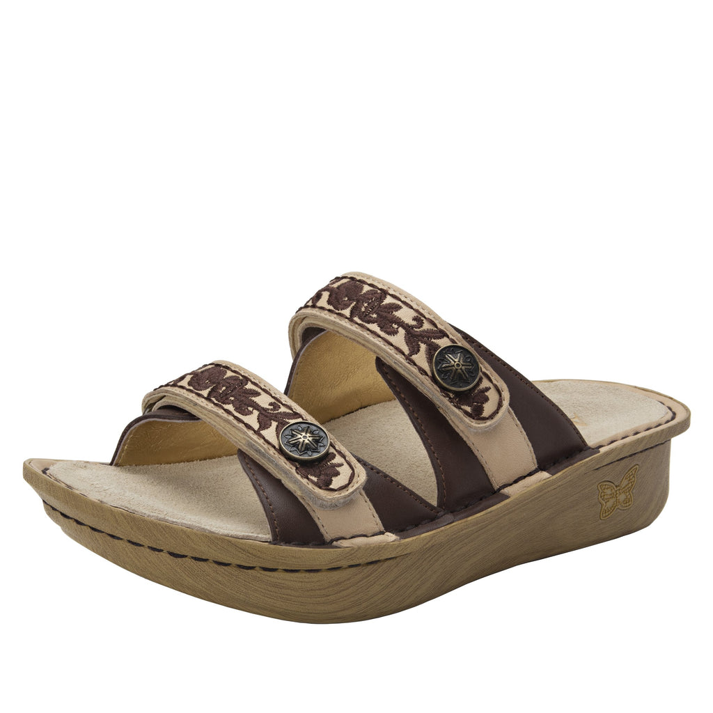 Clara Cocoa slide sandal with dual adjustable straps on classic rocker outsole - CLA-612_S1