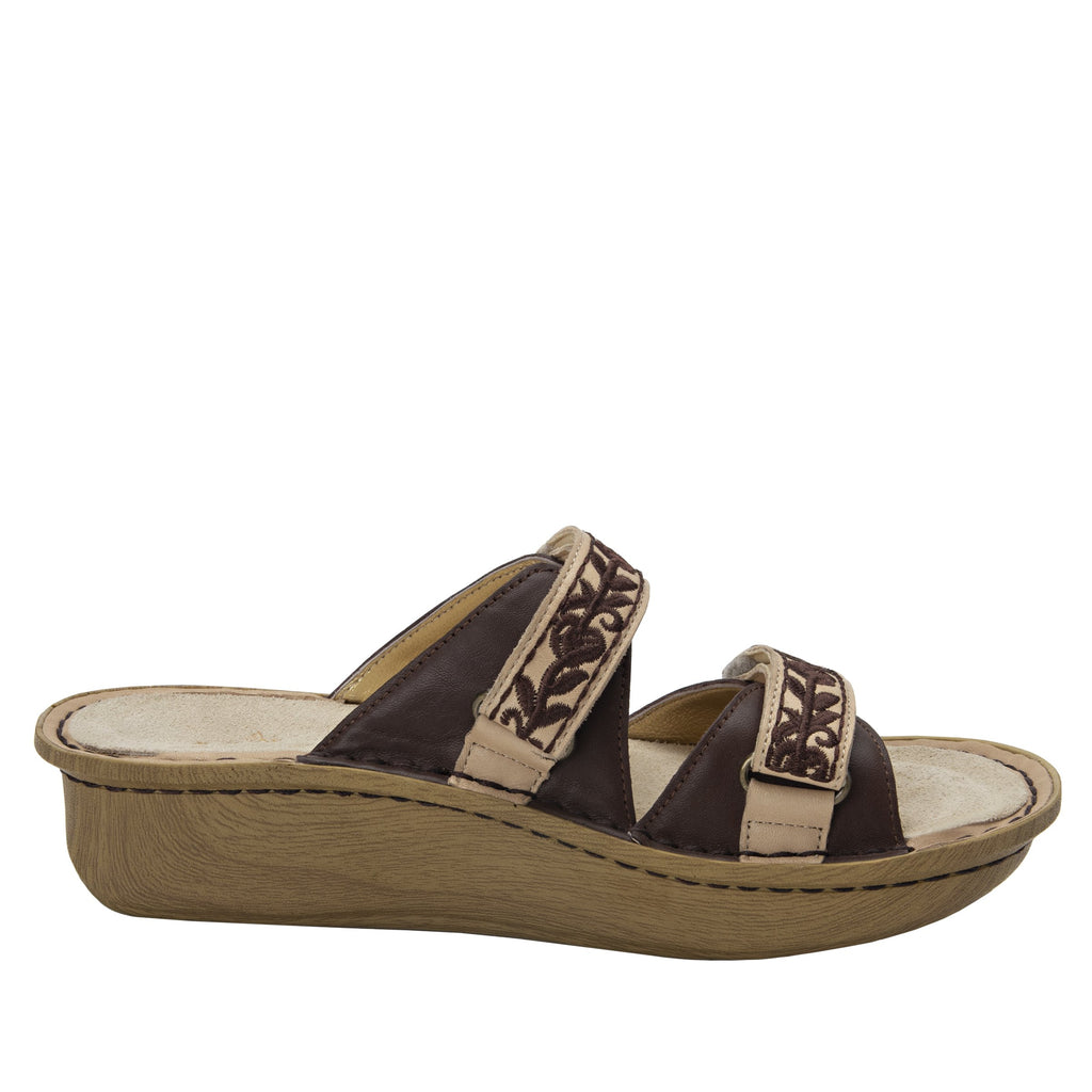 Clara Cocoa slide sandal with dual adjustable straps on classic rocker outsole - CLA-612_S2