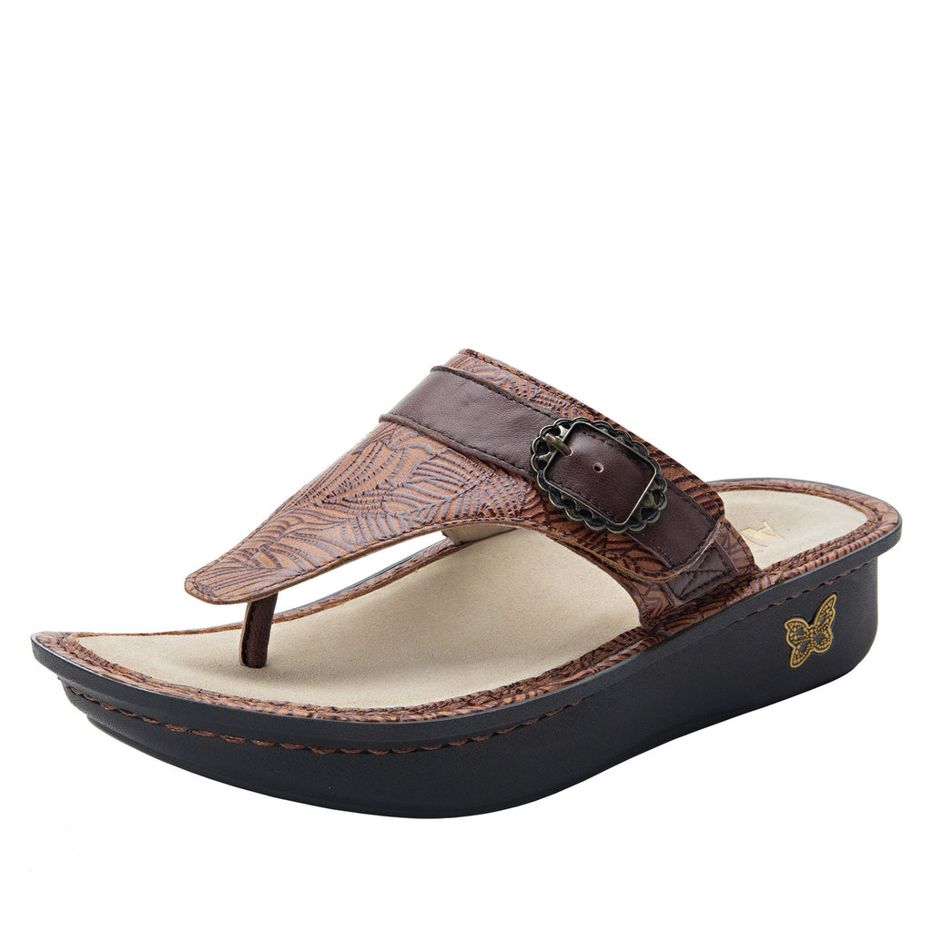 Codi Tobacco Leaf thong style sandal on classic rocker outsole - COD-849_S1
