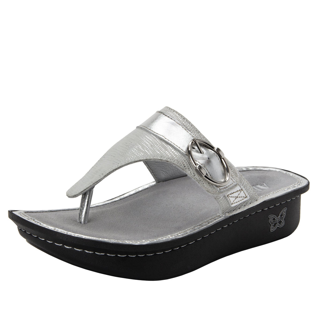 Codi White Sheen thong style sandal on classic rocker outsole - COD-886_S1  (1949240983606)