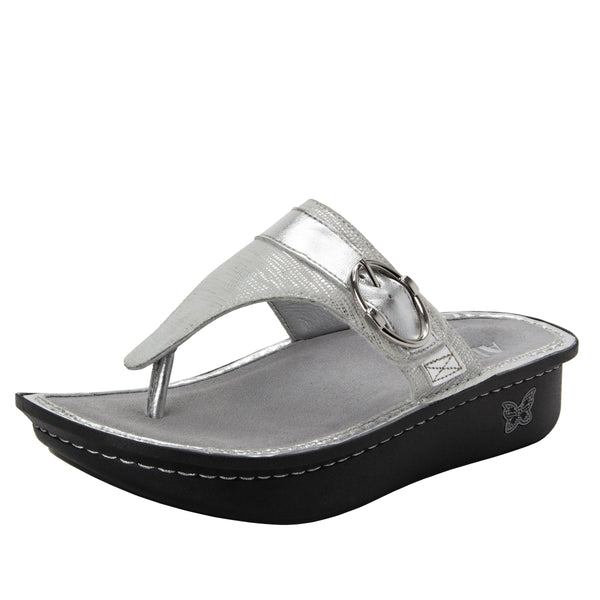Codi White Sheen thong style sandal on classic rocker outsole - COD-886_S1
