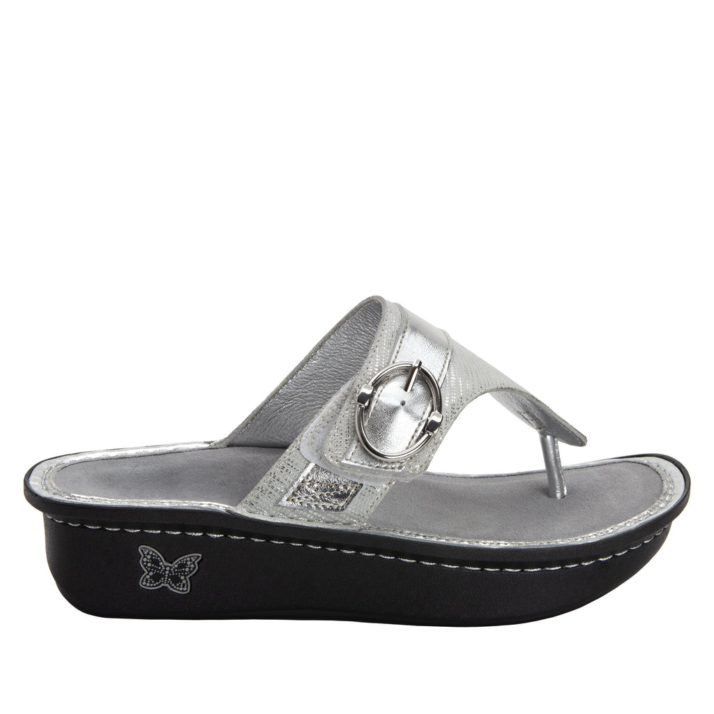 Codi White Sheen thong style sandal on classic rocker outsole - COD-886_S2