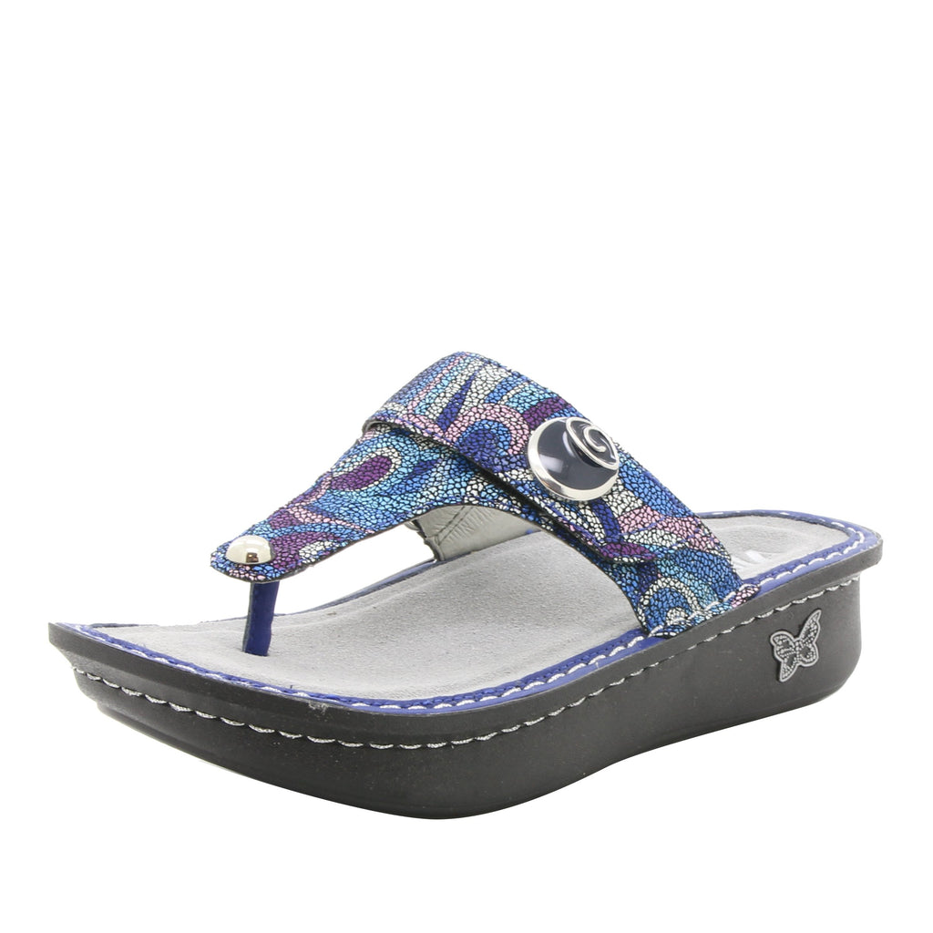 Carina Vintage Scarf thong style sandal on classic rocker outsole - CAR-596_S1