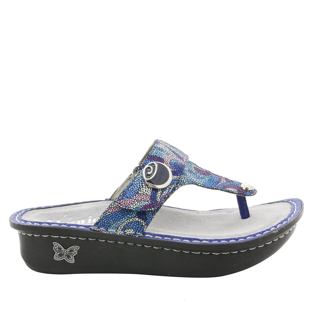 Carina Vintage Scarf thong style sandal on classic rocker outsole - CAR-596_S2 (1938365874230)